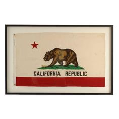 Framed Vintage California Republic Flag