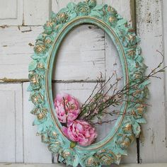 Large vintage frame painted mint green and gold shabby cottage chic rose pattern oval wall hanging home decor anita spero design