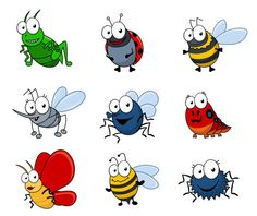 Royalty free clipart illustration of happy bugs, on a white background. This royalty-free cartoon styled clip art picture is available as a fine art print and poster. Cartoon Of Happy Bugs - Royalty Free Vector Clipart by Vector Tradition SM White Butterfly Tattoo, Butterfly Tattoo Designs, Bug Cartoon, Cartoon Drawings, Insect Clipart, Frog Illustration, Clip Art Pictures, Bullet Journal Art, Cartoon Styles