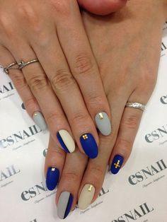 Nail art via esnail LA. #blue #navy #accent #nailart #mani #polish - See more nail looks at Bellashoot.com  share yours!