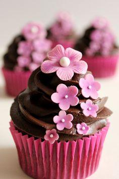 Chocolate cupcake with blossom
