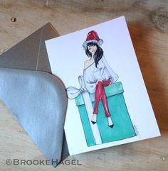 Christmas at Tiffanys -Fashion Illustration Card. via www.Brooklit.Etsy.com