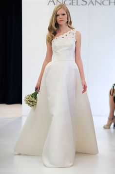 06606d1b925 A clean one-shoulder wedding gown from Angel Sanchez