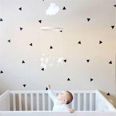 Black triangle wall stickers.