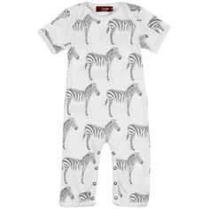 MilkBarn Organic Cotton Zipper Pajama Grey Zebra