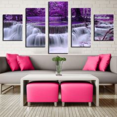 Frame: No Technics: Spray Painting Original: Yes Subjects: Landscape Medium: Oil Shape: Rectangle Type: Canvas Printings Style: Abstract Form: Multi-picture Combination Material: Canvas Calligraphy and painting type: Canvas Painting Support Base: Canvas M Cute Living Room, Living Room Decor, Bedroom Decor, Purple Wall Decor, Purple Walls, Purple Art, Deco Violet, Printed Cushions, Canvas Pictures
