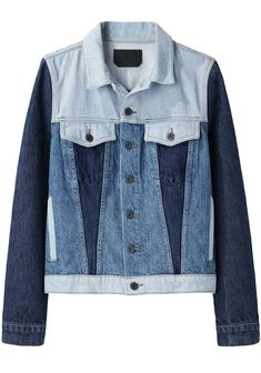 PRODUCT DETAILS: Description Colorblocked Jean Jacket by Proenza Schouler. Classic denim jacket with contrast stitching & slightly distressed details in colorblocked light & dark wash denim. Pointed collar / Long sleeves with button cuffs / Button down front / Colorblocked light & dark wash panels / Oxidized, embossed buttons / Seamed front & back yokes / Seamed front pockets with buttoned flaps / Vertical welt pockets at hips / Button epaulets at back waist / Gold, topstitching & slightly distr Mode Purple, Fashion Over Fifty, Perfect Jeans, Denim Outfit, Denim Fabric, Fashion Sewing, Proenza Schouler, Who What Wear, Distressed Jeans