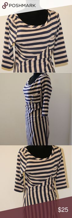 Tan and Navy Striped Dress Tan and Navy Striped Dress. 3/4 sleeves casual dress. One side pocket. unbranded Dresses Mini