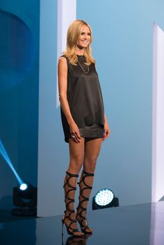 Heidi Klum knows how to show off her legs with these gladiator sandals.