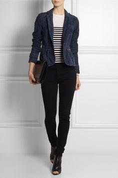 Burberry Brit|Suede peplum jacket|Jason Wu | Striped wool sweater | Balmain | Wool slim-fit pants | Proenza Schouler | Leather peep-toe ankle boots | Maison Martin Margiela | Leather shoulder bag |