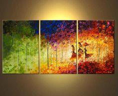 Angel By My Side - Multi Panals Hand Painted Mordern Art Oil on Canvas - Free Shipping #03744