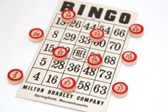 Vintage Wood Bingo Markers Magnets and Bingo Card, Vintage Bingo Chips, Bingo Numbers Upcycled Magnets by Tenpenny Gray