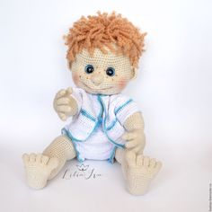 Купить Кукла вязаная детская игрушка пупс Антошка - белый, вязаная игрушка, вязаная кукла