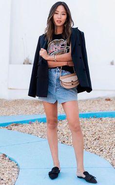 Guita Moda: O que usar com seu blazer preto  T-shirt de banda, saia jeans, mule
