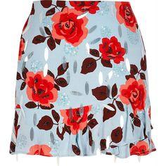 Blue embellished rose design mini skirt