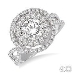 1 1/2 Ctw Diamond Engagement Ring with 3/4 Ct Round Cut Center Stone in 14K White Gold www.christensenjewelers.com