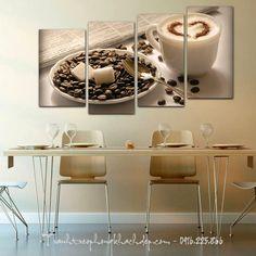 Tranh treo nhà hàng quán cafe capuchino tình yêu