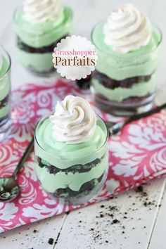Grasshopper parfaits are adorable! Chocolate and mint layered into single serving desserts everyone will love. Can I tell you about why I love parfaits? They are seriously the easiest desserts ever. Ever! Not only that, they are gorgeous. I can't tell you how many times I've baked a lovely pie, then cut into it and served sad, ugly, droopy slices. Parfaits don't let you down like that, friends. They stay classy in their glass dish, just daring you to mess with their lovely layers. Parfaits…