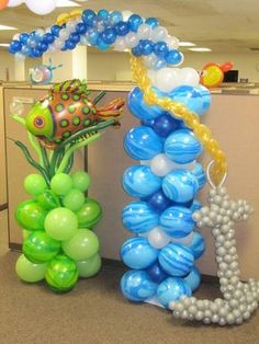 Balloons sculptures for an under the sea or mermaid party.