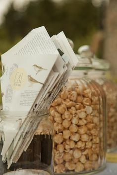 Forget standard canapés, Chris and Lucia's guests helped themselves to sweet and spicy popcorn – held in big candy jars and served in homemade paper cones – and mini peanut butter and jelly sandwiches wrapped in vellum paper Wedding Week, Chic Wedding, Our Wedding, French Wedding, Fall Wedding, Wedding Stuff, Dream Wedding, Wedding Canapes, Wedding Snacks