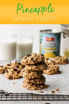 An alternative to the traditional chocolate chip cookie. Switch up your baking recipe and fill your home with the sweet smell of Pineapple Oatmeal cookies made with Dole Crushed Pineapple. Oatmeal Chocolate Chip Cookie Recipe, Oatmeal Recipes, Oatmeal Cookies, Recipes With Crushed Pineapple, Pineapple Recipes, Baking Recipes, Cookie Recipes, Dessert Recipes, Pineapple Cookies