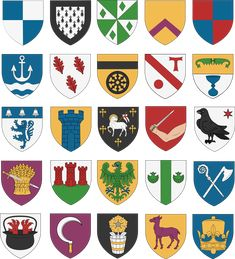 25 shields I made for a character (In WappenWiki style) : heraldry Medieval Symbols, Medieval Art, Medieval Fantasy, Family Logo, Family Crest, Medieval Shields, Mystery Of History, Crests, Coat Of Arms