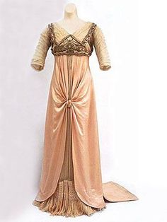 "LaFerrière satin/tulle dinner gown with metallic embroidery, c.1912. Label: ""LaFerrière, Paris"" is woven into the petersham."