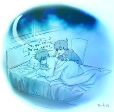 Shinichi singing lullabies for Kid XD