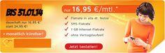 AllNet- & SMS- & Internet 1GB- Flat nur 16.95€ mtl - HandyTarifTipp