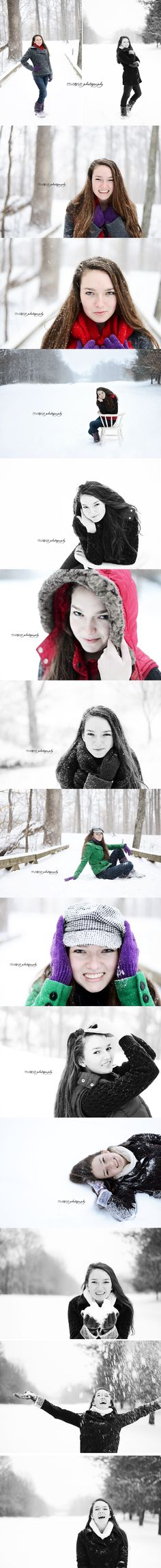 Winter senior portraits. Senior girl pictures in the snow. Outdoor winter senior girl session | M Rose Photography