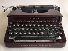 "L. C. Smith Corona Maroon ""Silent"" Portable Typewriter"