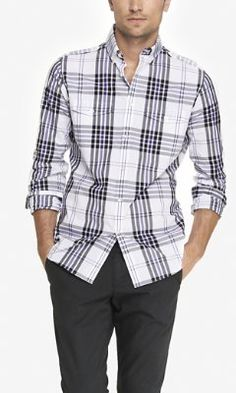 FITTED PLAID SHIRT from EXPRESS