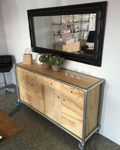 """""""A fav from 2015. Ply wood and galv pipe dresser custom made for Skin Boutique…"""