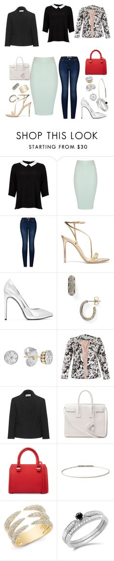 """One Blouse - Two Styles"" by fel3 ❤ liked on Polyvore featuring Lipsy, Jane Norman, 2LUV, Gianvito Rossi, Yves Saint Laurent, Nadri, Lagos, Threads, RED Valentino and Victoria Beckham"