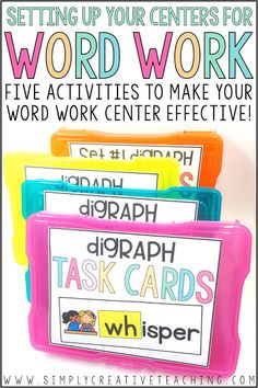 Effective Word Work Centers & Activities for Phonics Instruction Engage kindergarten, first grade, & grade students with easy hands on word work centers! These literacy stations include word sorts for pocket charts, fun games, & hands on puzzles for in Word Work Stations, Word Work Centers, Reading Stations, Literacy Stations, Reading Groups, Daily 5 Stations, Prek Literacy, Reading Centers, Task Cards
