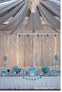 Blue & white christening baptism party lighted backdrop and decor! See more party planning ideas at CatchMyParty.com!