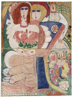 Aloïse Corbaz - Couple d'Ischl, ca. 1960, pencil drawing