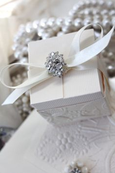use crystal buttons on gift wrap