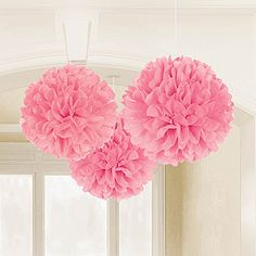 These Light Pink Tissue Poms can be displayed from ceilings, doorways, above your party tables and more! Each pom measures 16 inches in diameter. - $6.99/ 3