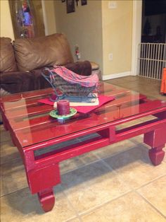 pallet coffee table done right with glass top and added table legs