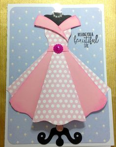 Homemade Birthday Cards, Girl Birthday Cards, Birthday Dresses, Beautiful Day, Handmade Cards, Paper, Clothes, Dios, Craft Cards