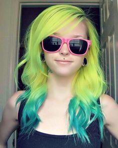 Green ombre hair dip dyed hair