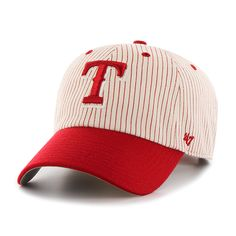 new styles 47d9b 72d26 Texas Rangers Pinstripe Home Run Two Tone Clean Up Red 47 Brand Adjustable  Hat