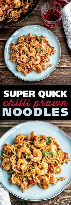 Easy Prawn Recipes, Fish Recipes, Seafood Recipes, Asian Recipes, Dinner Recipes, Cooking Recipes, Healthy Recipes, Healthy Food, Prawn Noodle Recipes
