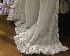 Items similar to Linen ruffles Bed scarf 'Diane' - Vintage style - linen throw - blanket - Shabby Chic bedding on Etsy Chic Bedding, Ruffle Bedding, Linen Duvet, Simply Shabby Chic, Shabby Chic Style, Shabby Chic Decor, Shabby Chic Interiors, Shabby Chic Furniture, Camas Shabby Chic