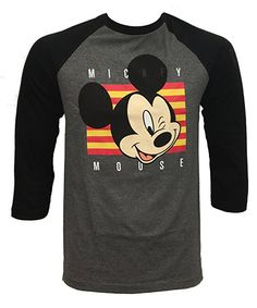 NEFF Men's Disney X Wink Mickey Mouse Raglan 3/4 Sleeve T-Shirt, Black/Athletic Heather - NEFF x Disney Collaboration - Disney Style Fashion