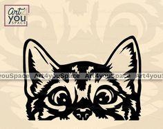 Plasma Cnc, Cricut Svg Files Free, Cute Cat Face, Cute Black Cats, Cat Silhouette, Animal Faces, Cat Gifts, Clipart, Printable Art