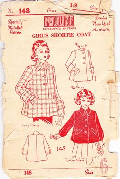 RARE 1940s Antique Sewing Pattern Girls' by allthepreciousthings, $12.00