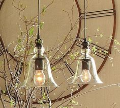 Rustic Glass Pendant - Small #potterybarn
