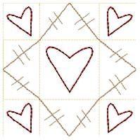 Prim Heart Blocks Set, 11 Designs! - 4x4 | Primitive | Machine Embroidery Designs | SWAKembroidery.com HeartStrings Embroidery